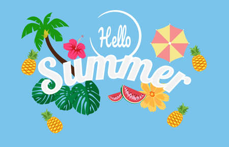 Vector cartoon style Paradise summer design for season postcard or poster with floral composition with tropical leaves, flowers and pineapple. Colorful vibrant template for print. vector. - Vector