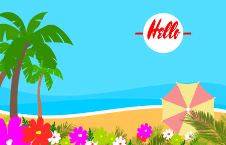beach summer backgrounds with copy space for text - summer landscape - background for banner, greeting card, poster and advertising - summer vacation concept - Vector