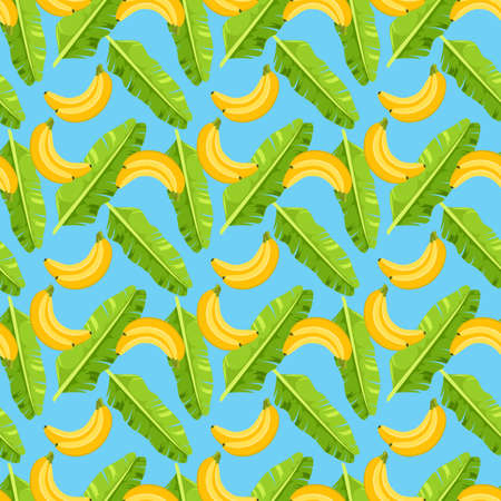 Seamless pattern with tropical banana green leaves and bananas. Vector illustration. 矢量图像