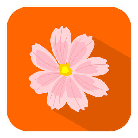 Pink Cosmos Flower Flat Icon with shadow on orange background. Vector Icon - Vector
