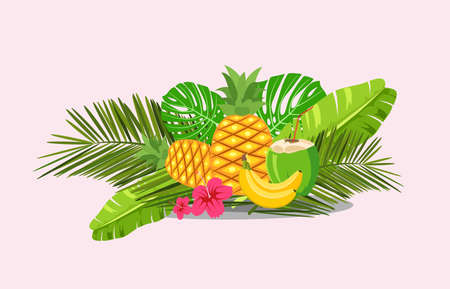cartoon style Paradise summer design for season postcard or poster with floral composition with tropical leaves, flowers and pineapple. Colorful vibrant template for print. vector.