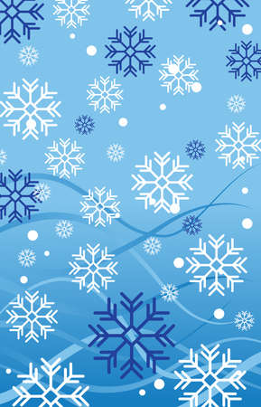 abstract Christmas blue background with snowflakes.Vector illustration. Winter snowfall.