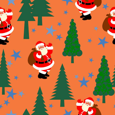 Christmas seamless pattern. Christmas tree,Santa Claus ,and blue stars on orange background.vector