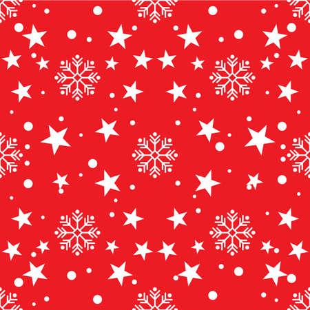 White snowflakes and stars seamless pattern on a red background, Christmas holiday background, vector illustration