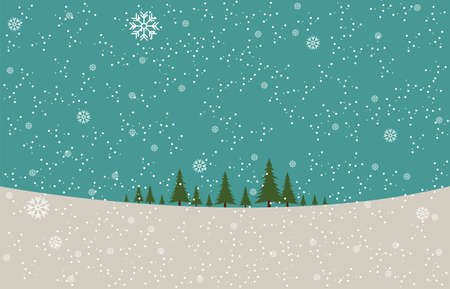 Christmas trees in blue background with snowflakes for Christmas and New Year artwork template.