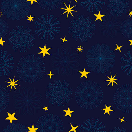 abstract background seamless pattern  winter seamless pattern snowflakes and golden  stars on blue background.vector-