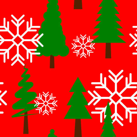 Seamless pattern with green Christmas trees and white snowflakes on red background. VECTOR 矢量图像