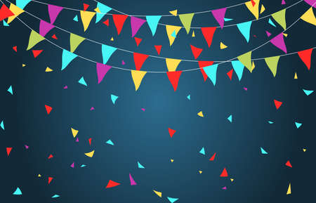 background Creative a beautiful greeting card with Colorful Party Flags.vector illustration. 矢量图像