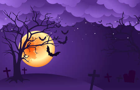 Spooky night clouds  background with orange full moon, scary trees and bats silhouettes. Vector illustration.  イラスト・ベクター素材