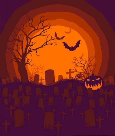 Halloween  night background with full moon, scary trees ,pumpkins,tombstones,cross and bats silhouettes. Vector illustration.