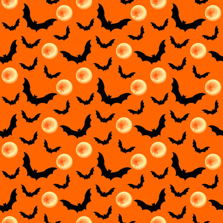 Seamless pattern with black bat, full moon. Halloween background vector design. 矢量图像