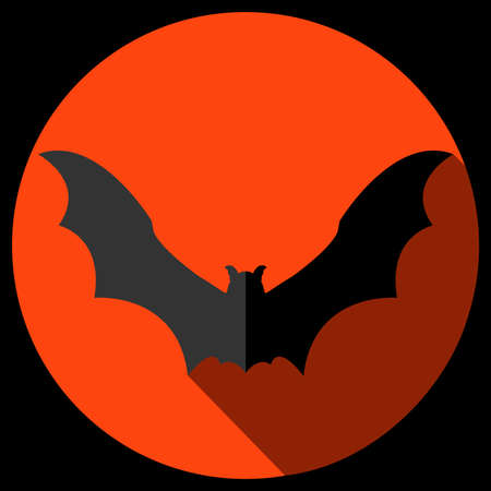 Vector flat bat icon with long shadow.Halloween symbol