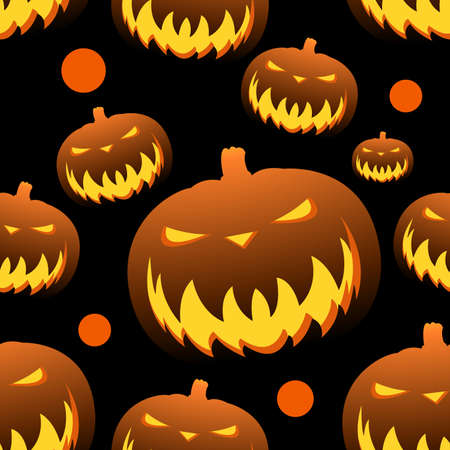 pumpkins pattern Halloween holiday, seamless background vector illustration on black color.