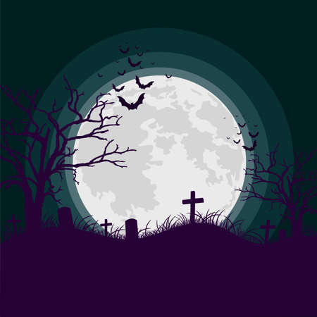 Spooky night background with full moon, scary trees and bats silhouettes. Vector illustration.