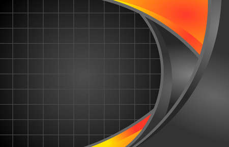 abstract orange,yellow and black grey background  curve with grid  line and  space vector background illustration. 矢量图像