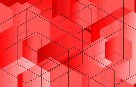 Geometric abstract red hexagon background with line vector illustration.