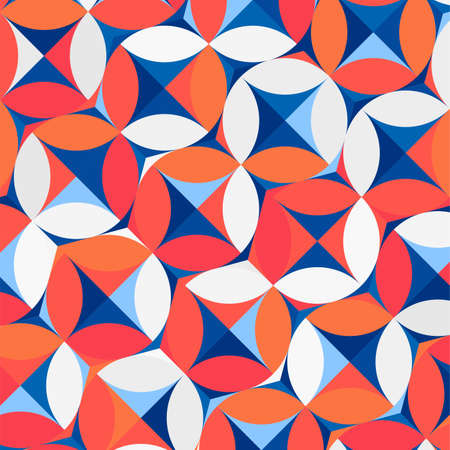 abstract geometric  circle blue,red,white and orange  pattern background vector .