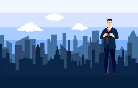 Business man and binoculars with city landscape background.