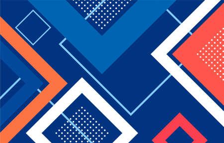 abstract geometric square shape blue,red,orange pattern background.illustration for your work. Ilustração