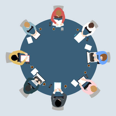 Business meeting top view on circle table conference office team .vector illustration