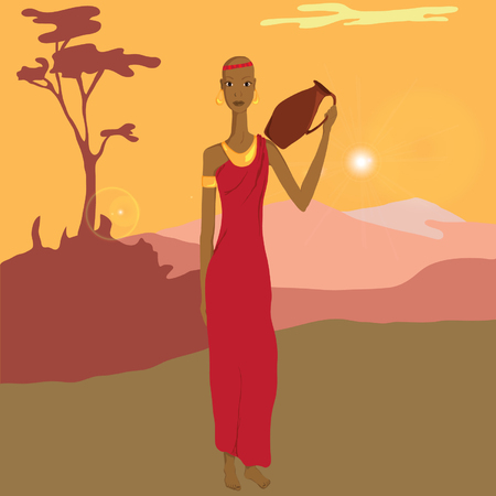 African woman with a pitcher Vector