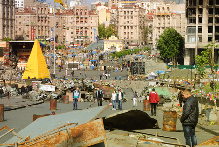 Peaceful atmosphere on Maidan Square in Kiev
