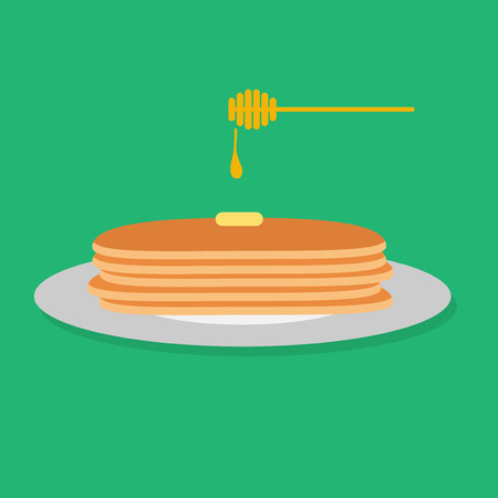 Illustration of pancakes with honey.
