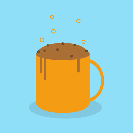 Vector illustration of chocolate cake in coffee mug.