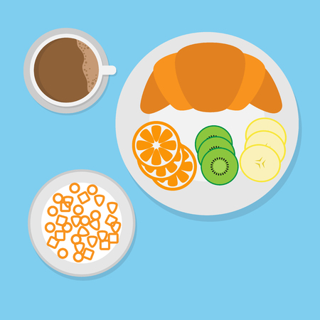 breakfast concept with croissant,cereal,fruit and coffee.
