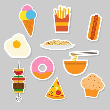 set of food sticker icon Illustration