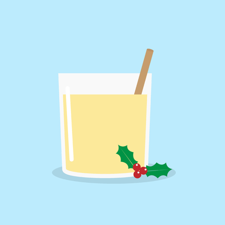 Homemade Christmas Eggnog with Cinnamon. Vector illustration Çizim