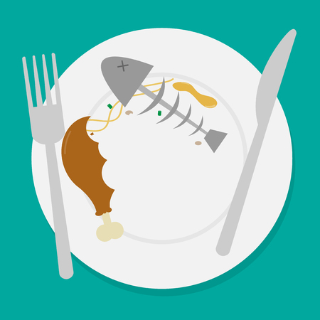 dirty waste food on plate with fork and spoon.