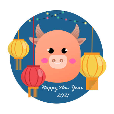 Happy New Year 2021. The year of the ox.Chinese new year concept. Vector illustration