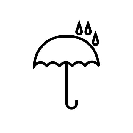 opened umbrella icon under raindrops Illustration