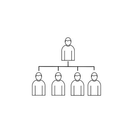 男線形アイコンと階層構造  イラスト・ベクター素材