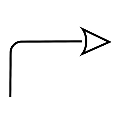 Turn right linear  simple graphic web icon.