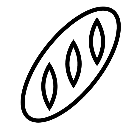 Long bread simple line vector web graphic icon. Illustration