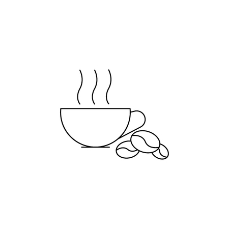 Hot cofee, beans simple line vector web graphic icon.