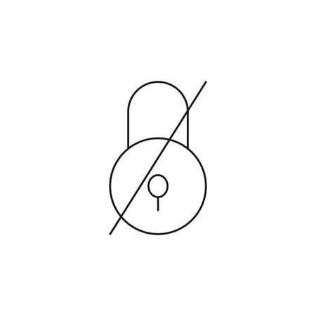 no lock line vector simple web graphic icon