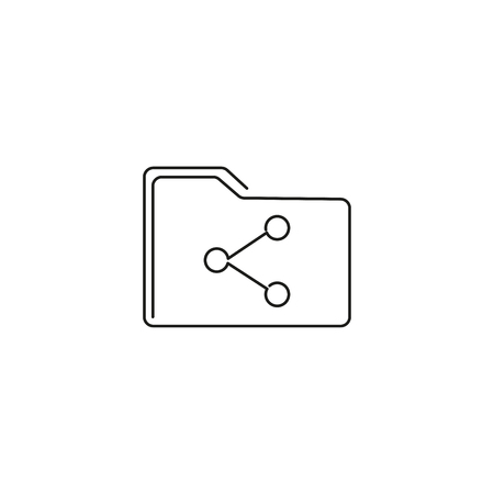 Shared folder simple line vector web graphic icon
