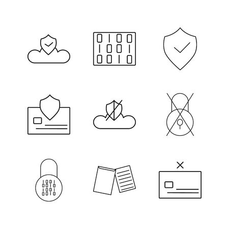 Cyber Security simple linear vector outline icon set Stock fotó - 93949201