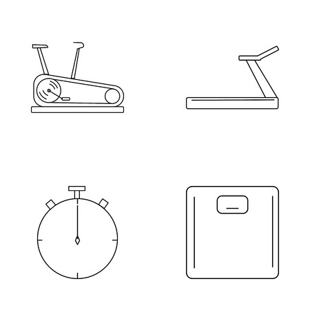 Fitness simple linear vector outline icon set