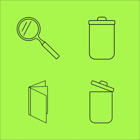 Basic Content linear outline vector icon set Illustration