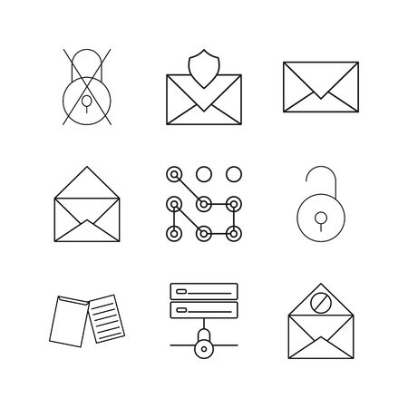 Cyber Security simple linear vector outline icon set