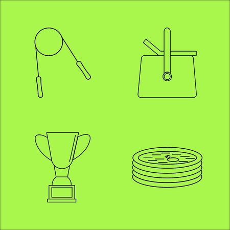 Sport And Wellness linear outline vector icon set Illustration