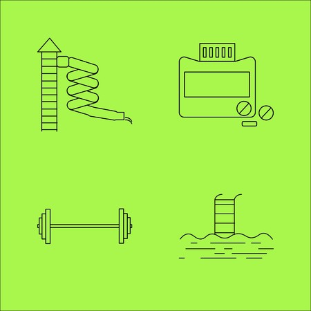 Sport and wellness linear outline vector icon set. Illustration