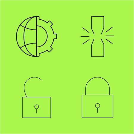 Web linear outline vector icon set Illustration