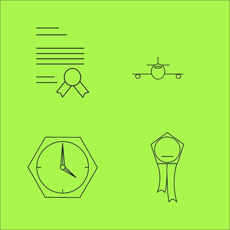 Business time and travel outline icons set. linear icon