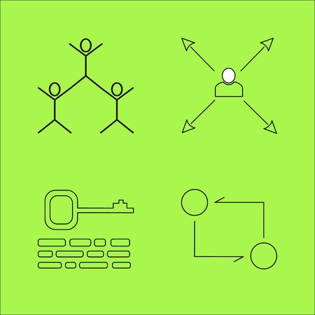 Business outline icons set linear icon.