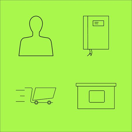 Business outline icons set. linear icon